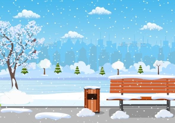 Winter Day Park Scene