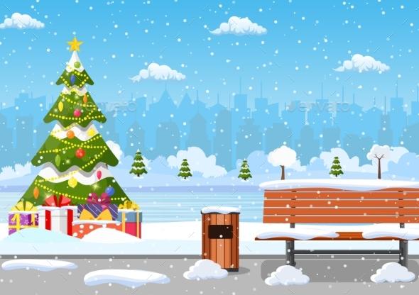 Snowy Winter City Park
