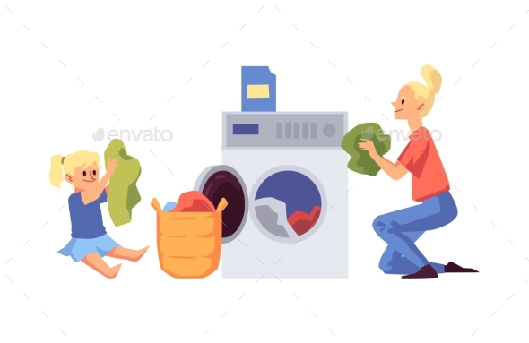 Cartoon Woman and Child Doing Laundry