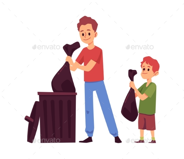 Kid and Parent with Trash Bags