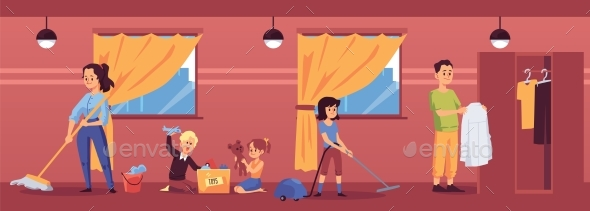 Room with Family in House Cleaning