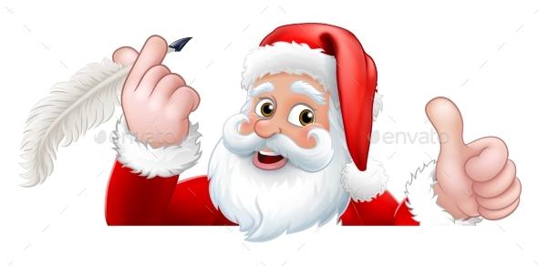 Santa Claus Peeking Quill Pen Cartoon