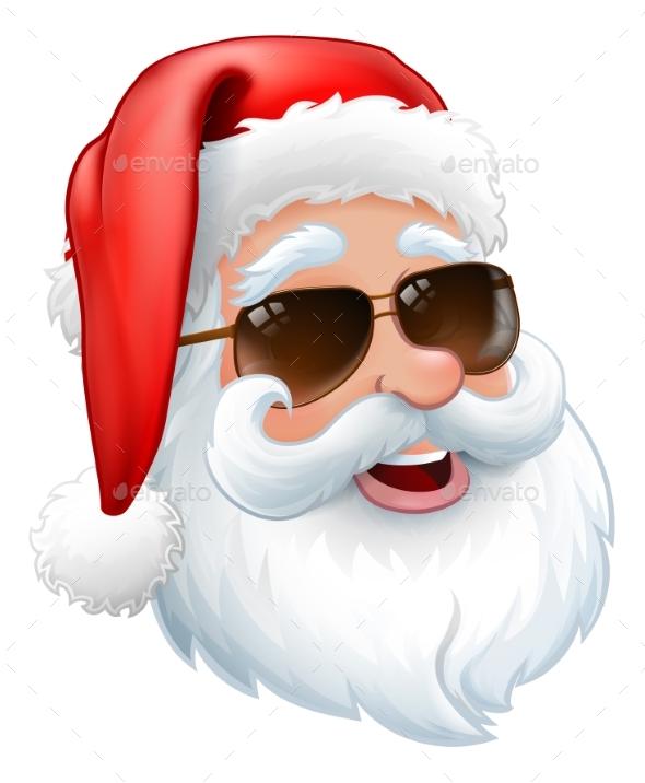 Santa in Sunglasses Christmas Cartoon
