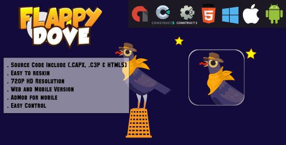 Crazy Flappy Dove - HTML5 Game - Web & Mobile + AdMob (CAPX, C3p and HTML5) Download