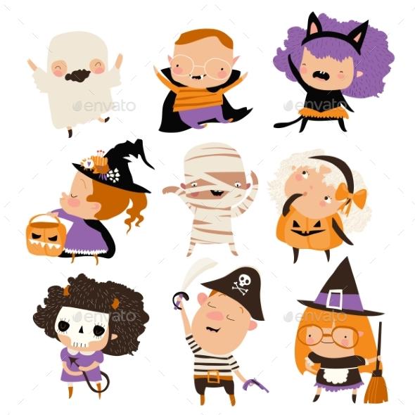 Cartoon Happy Kids in Halloween Costumes