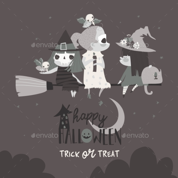 Halloween Witches Flying on Broom