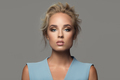 Fashion Portrait Of Beautiful Woman. Gray Background. - PhotoDune Item for Sale