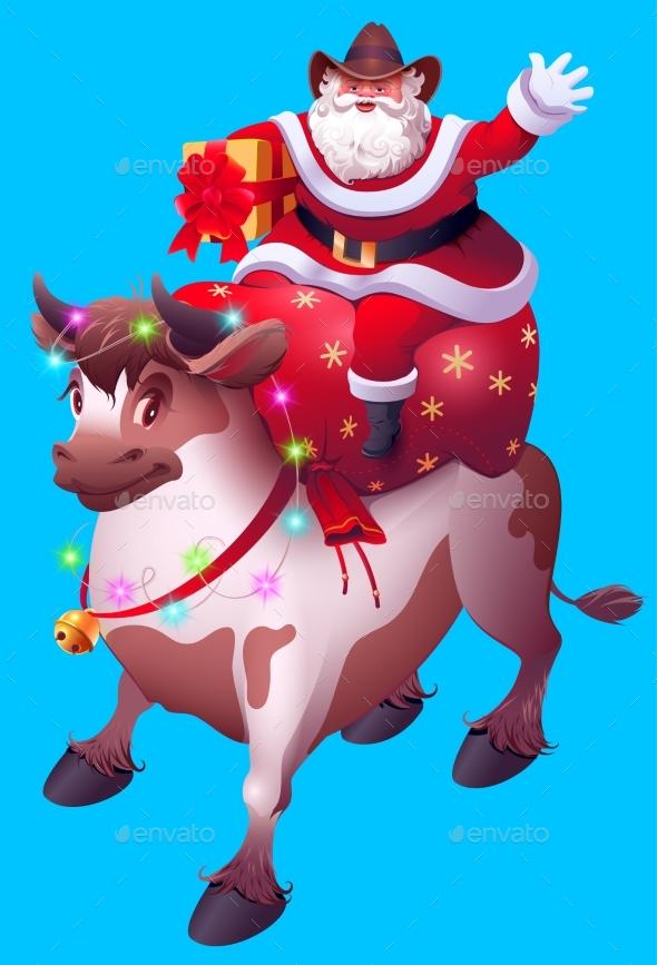Santa Claus with Bag of Gifts Rides Bull