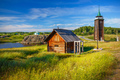 Russian Countryside With Old Log House and Fire Tower - PhotoDune Item for Sale