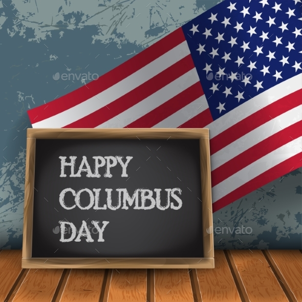 Columbus Day with Usa Flag