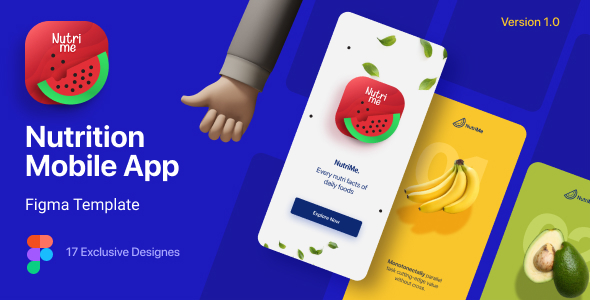NutriMe | Online Nutrition Info Mobile App and Landing Page Figma Template
