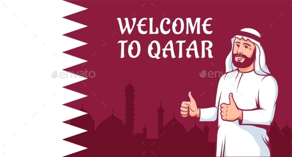 Positive Arab Man Thumbs Up on Qatar Flag