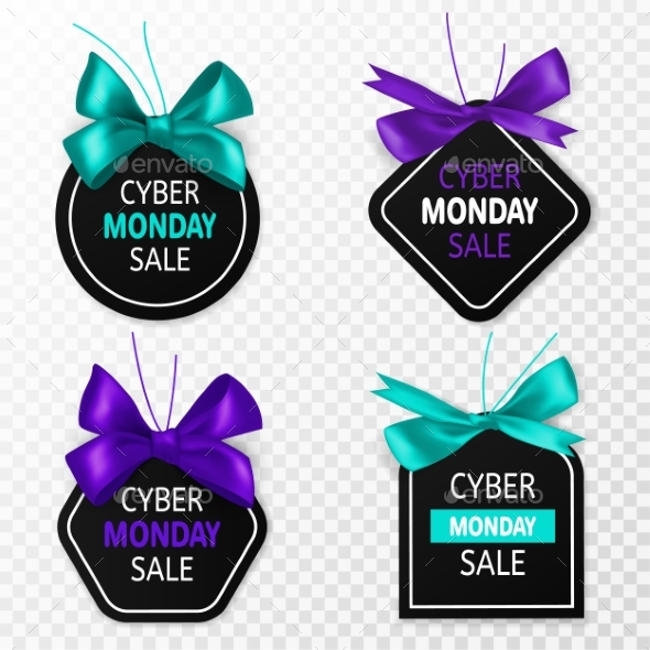 Cyber Monday Sale Labels. Promotion Price Tags