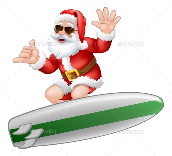 Santa in Sunglasses Surfing Shaka Hand Cartoon