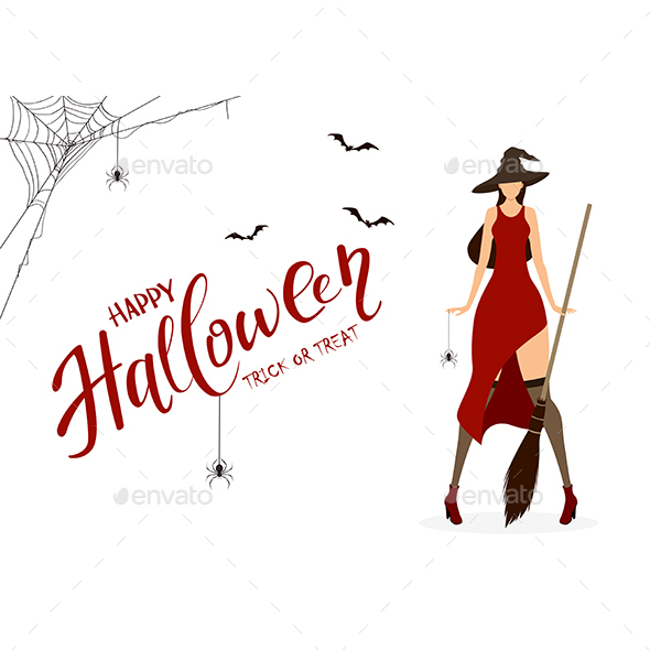 Happy Halloween and Witch with Spider