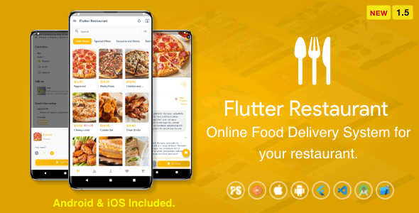 Flutter Restaurant ( Online Food Delivery System For iOS and Android ) 1.5 Download