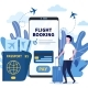 Man Buying Ticket on Flight Via Mobile App - GraphicRiver Item for Sale
