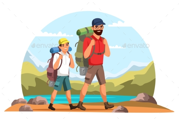 Vector Characters Father and Son Camping Trip