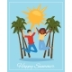 Joyful Couple Lettering Happy Summer on Poster - GraphicRiver Item for Sale