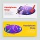 Headphone Shop Inscription, Banner Set, Online - GraphicRiver Item for Sale