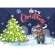 Vector Illustration Marry Christmas Tree and Bull - GraphicRiver Item for Sale