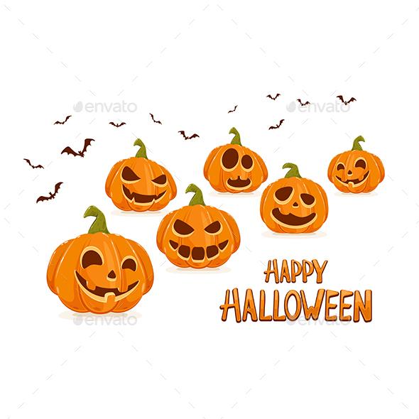 Happy Halloween with Pumpkins and Bats