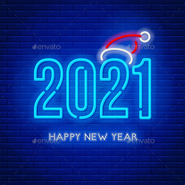 Happy New Year 2021 Neon Lettering