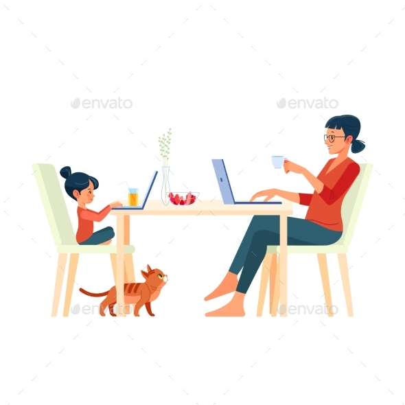 Family Mother and Daughter Sitting at Desk