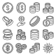 Coins Icons Set on White Background - GraphicRiver Item for Sale