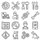 Repair and Settings Icons Set on White Background - GraphicRiver Item for Sale
