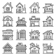 Home and House Buildings Icons Set Line Style - GraphicRiver Item for Sale