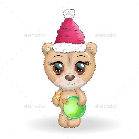 Cartoon Bear with Big Eyes in a Christmas Hat