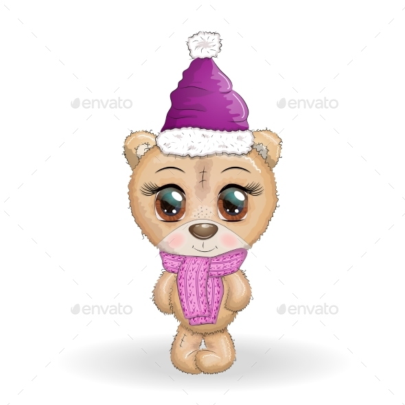 Cartoon Bear with Big Eyes in a Scarf and Hat