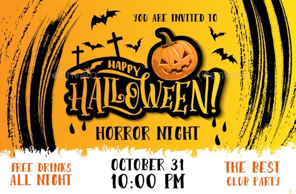 Halloween Party Invitation with Horror Pumpkin