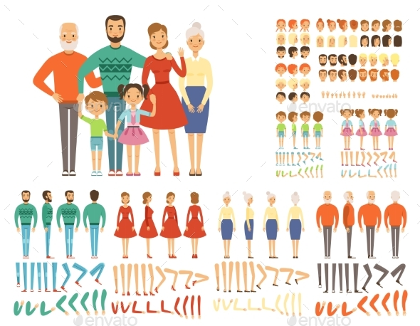 Big Family. Mascot Creation Set Characters Father
