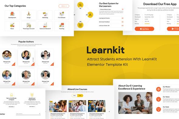 LearnKit - e-Learning Elementor Template Kit