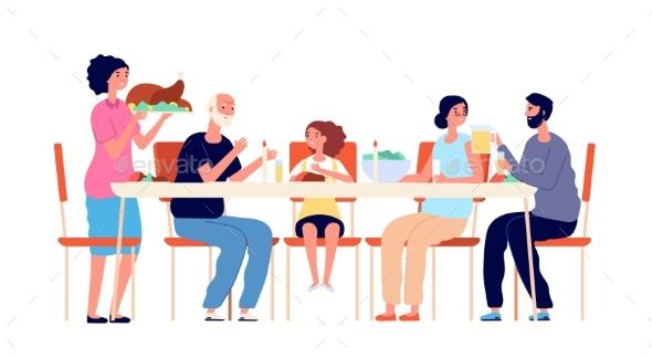 Thanksgiving Dinner. Cartoon Family Eating