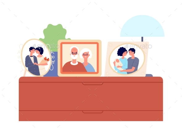Family Portraits in Frames. Couple, Children Photo