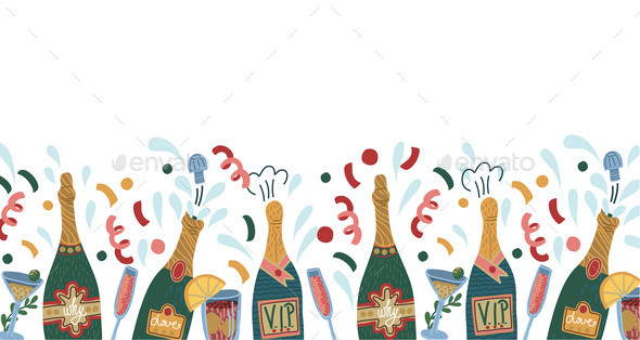 Border with Bottles of Champagne and Glasses