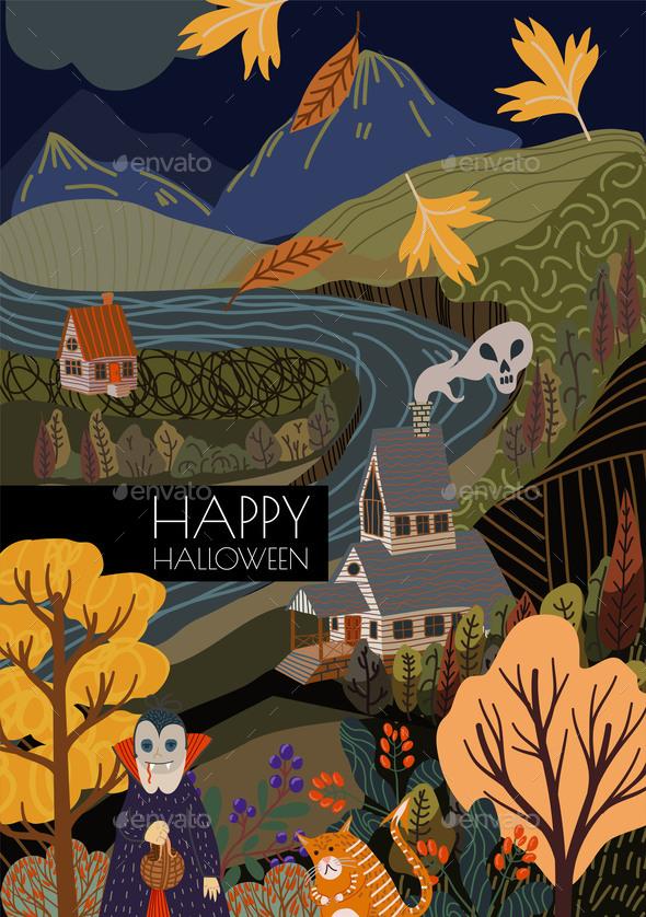 Autumn Landscape in Halloween