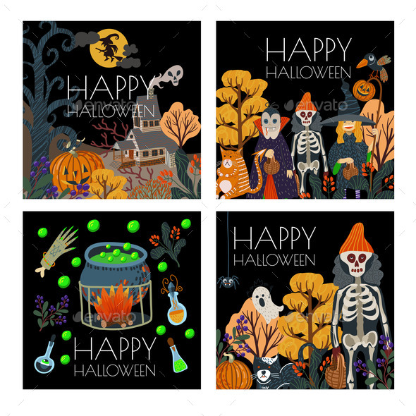 Set of Halloween Banner or Card