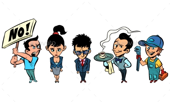 Set of Little Men Characters Men and Women