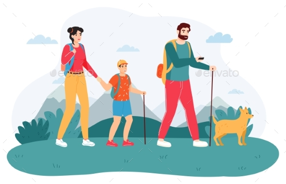Family Outdoor Journey. Happy Hiking Family