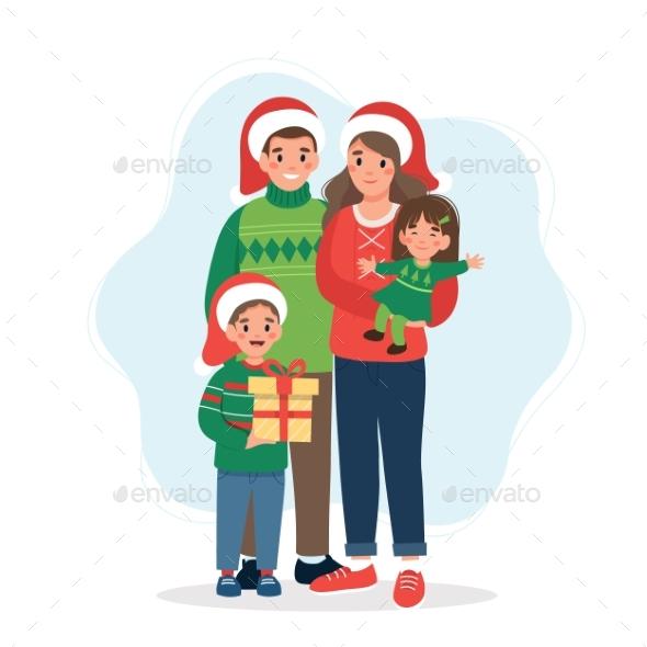 Happy Family at Christmas.