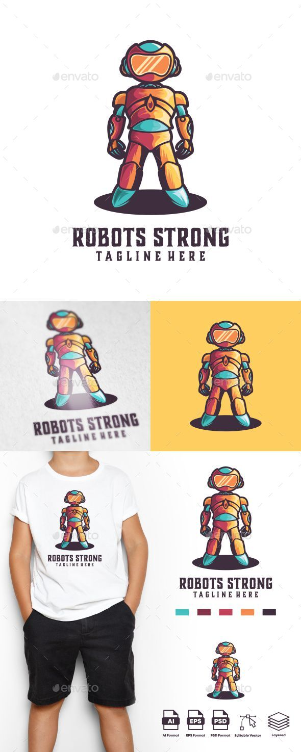 Robots Strong Logo Template