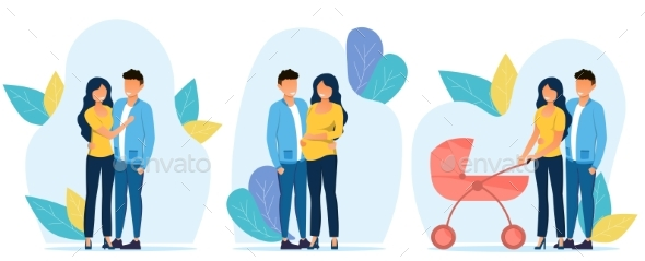 3 Illustrations Showing Scenes From the Couples
