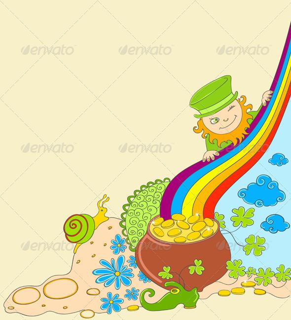 St Patrick's Day Background with Leprechaun