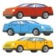 Set of Cars in Red, Blue and Yellow Modern Four-Door Car - GraphicRiver Item for Sale