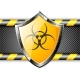 Gold Shield with Biohazard Sign Over Steel - GraphicRiver Item for Sale