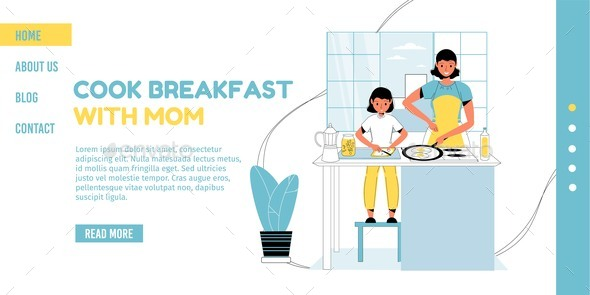 Mom Daughter Cook Breakfast Together Landing Page